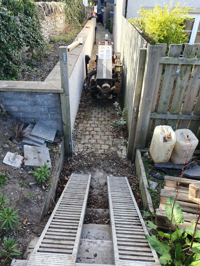Access ramp for drilling rig down steps